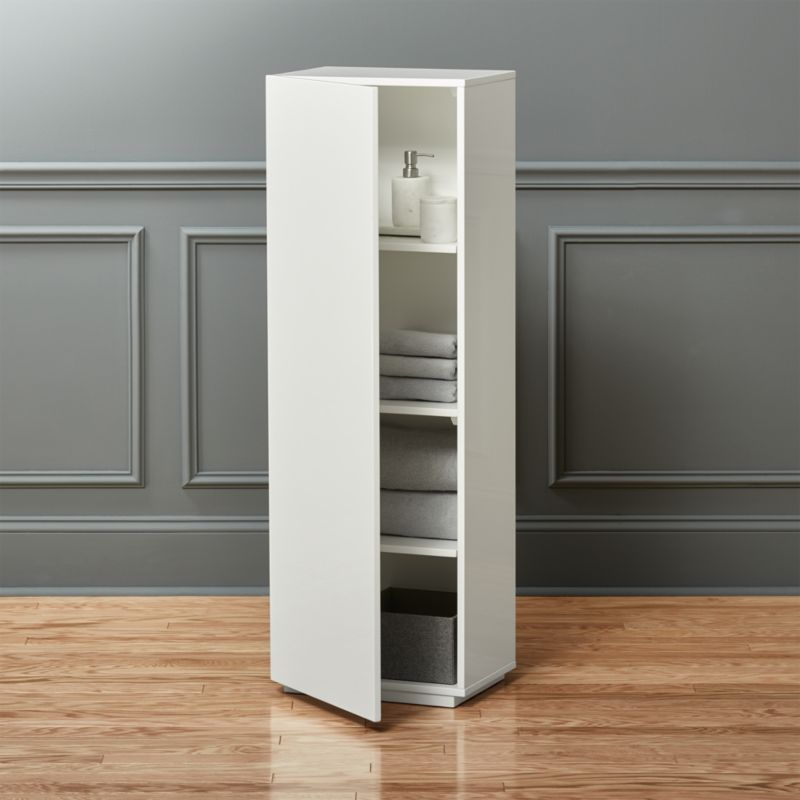 the wall tall white bathroom cabinet + Reviews | CB2