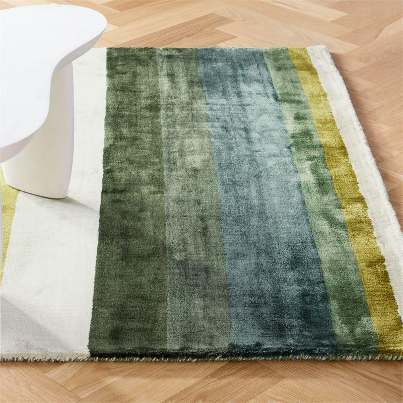 Tidal Hand Loomed Green Striped Rug | CB2