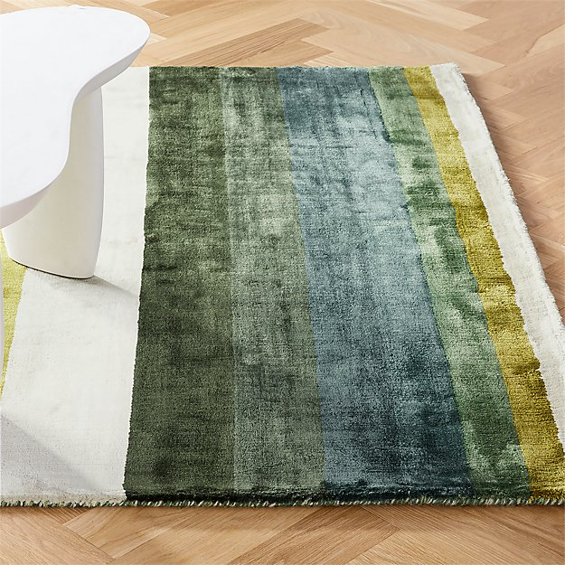 Tidal Hand Loomed Green Striped Rug - Image 1 of 9