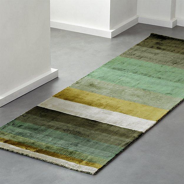 Tidal Hand Loomed Green Striped Runner 2.5'x8' - Image 1 of 3