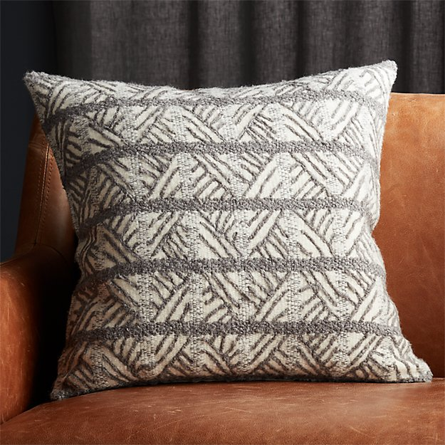 "20"" Tilda Dark Grey/White Chevron Pillow - Image 1 of 5"