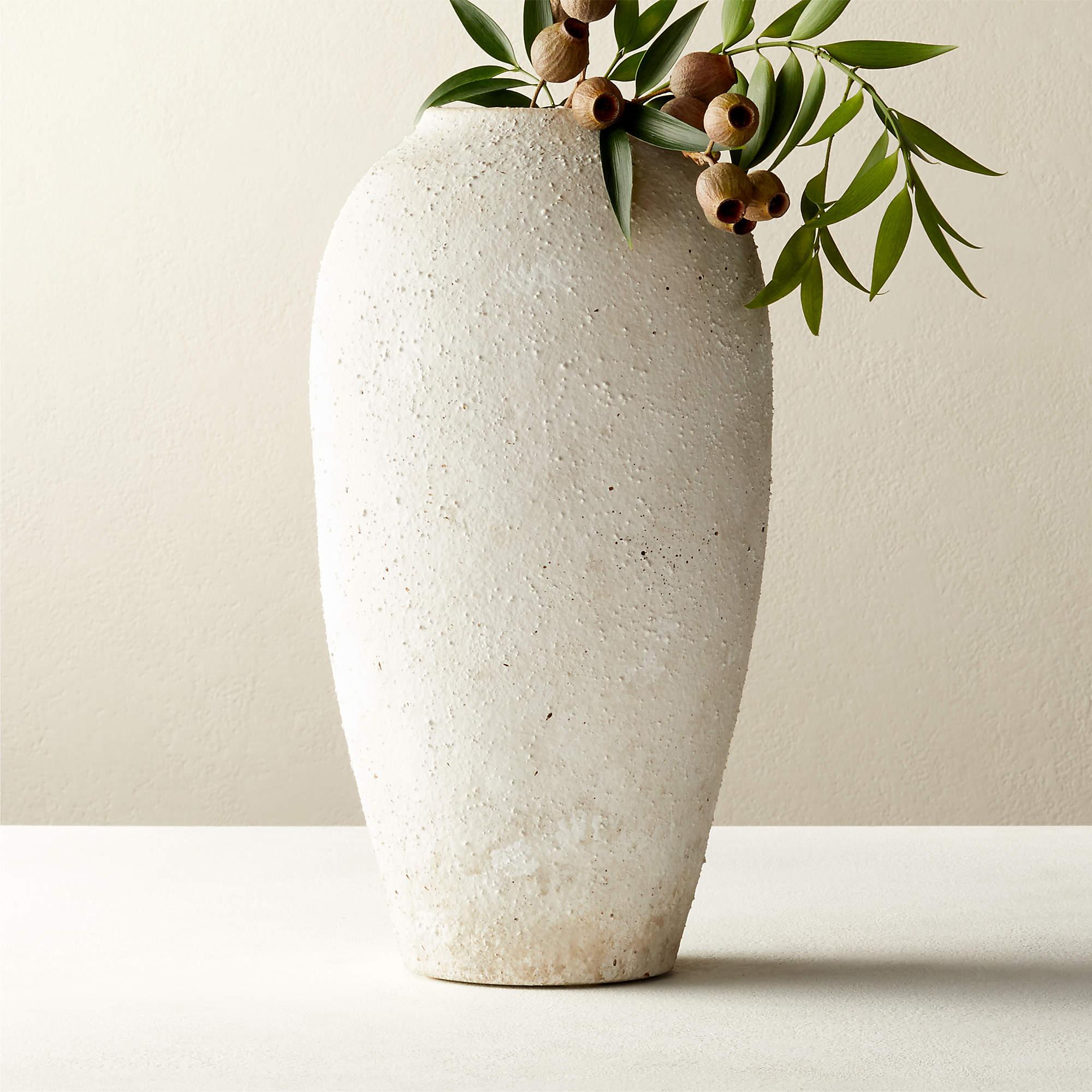 CB2 Torino White Textured Vase