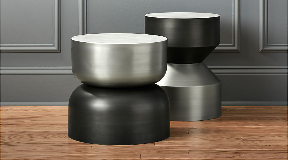Silo Metal Drum Side Table Cb2