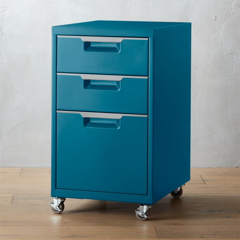 TPS Teal 3 Drawer Filing Cabinet