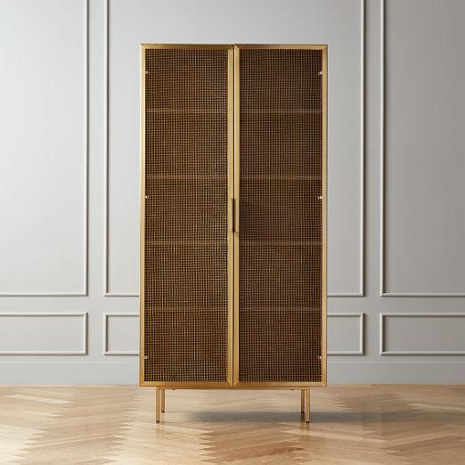 Trace Brass Wire Mesh Door Bookcase II