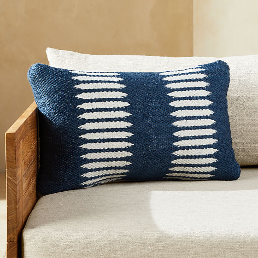 """20""""x12"""" Trait Blue and White Outdoor Pillow"""