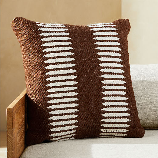 """20"""" Trait Brown and White Outdoor Pillow"""