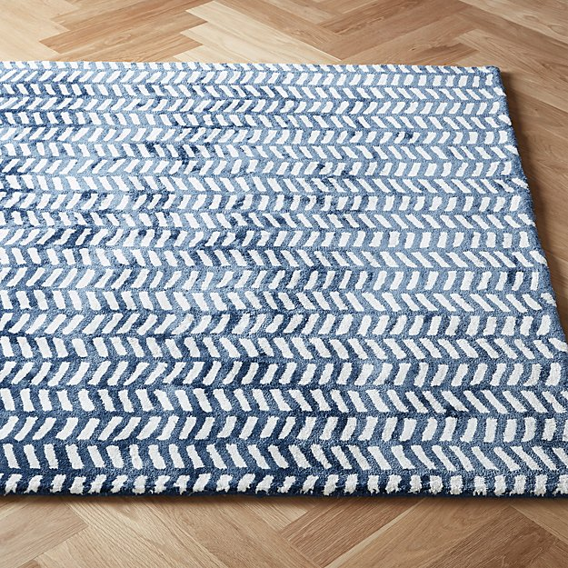 Tread Navy Tufted Rug - Image 1 of 7