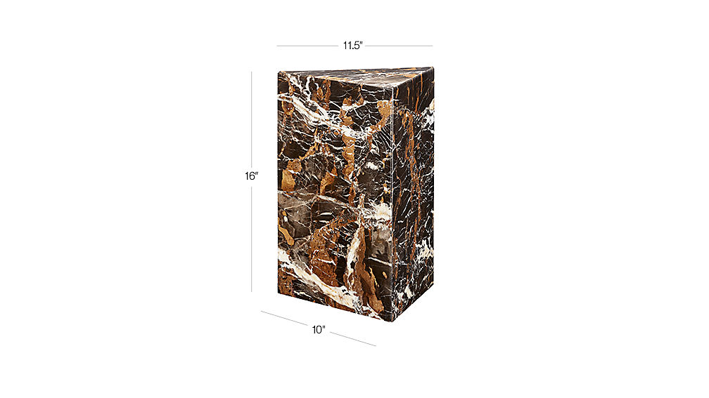 Image with dimension for Tri Brown Marble Side Table