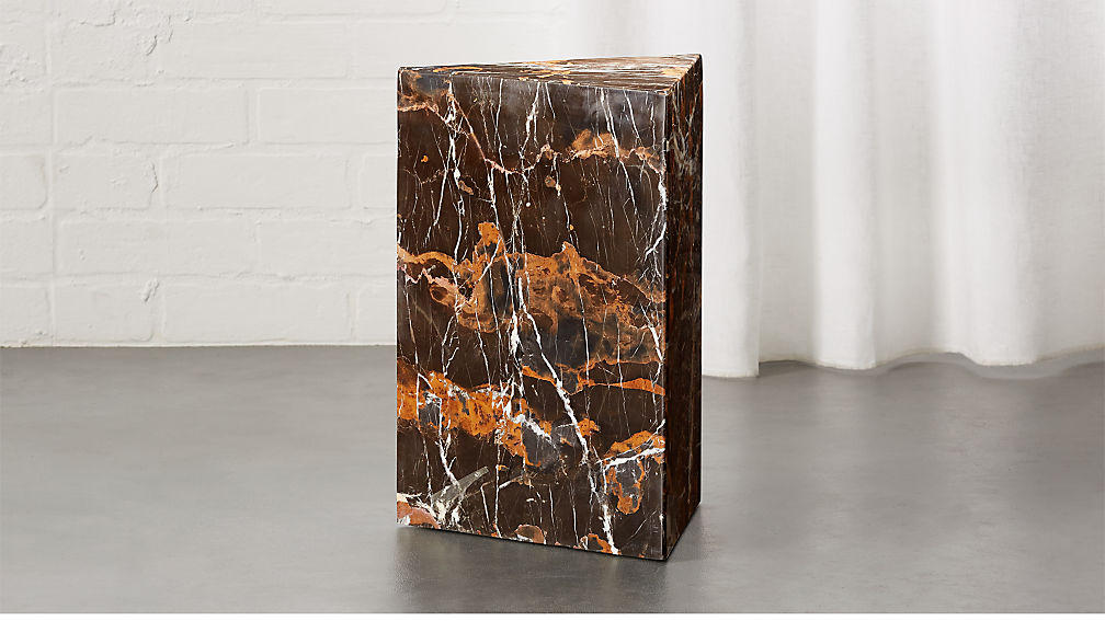 Tri Brown Marble Side Table Reviews Cb2