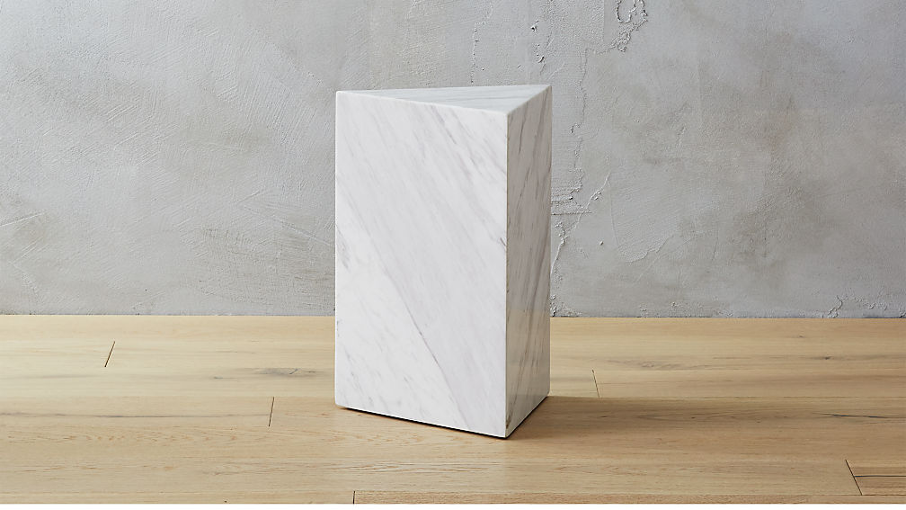 Tri White Marble Side Table - Image 1 of 12