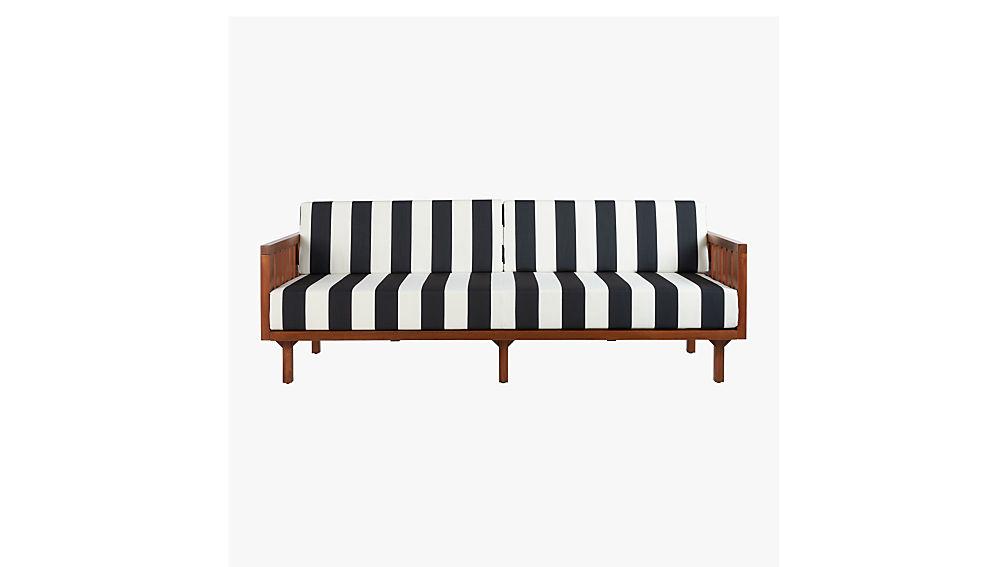 Tropez Black And White Stripe Outdoor Sofa + Reviews | CB2