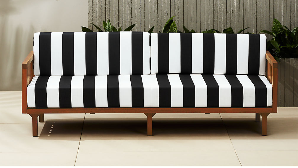 Tropez Black And White Stripe Outdoor Sofa Reviews Cb2
