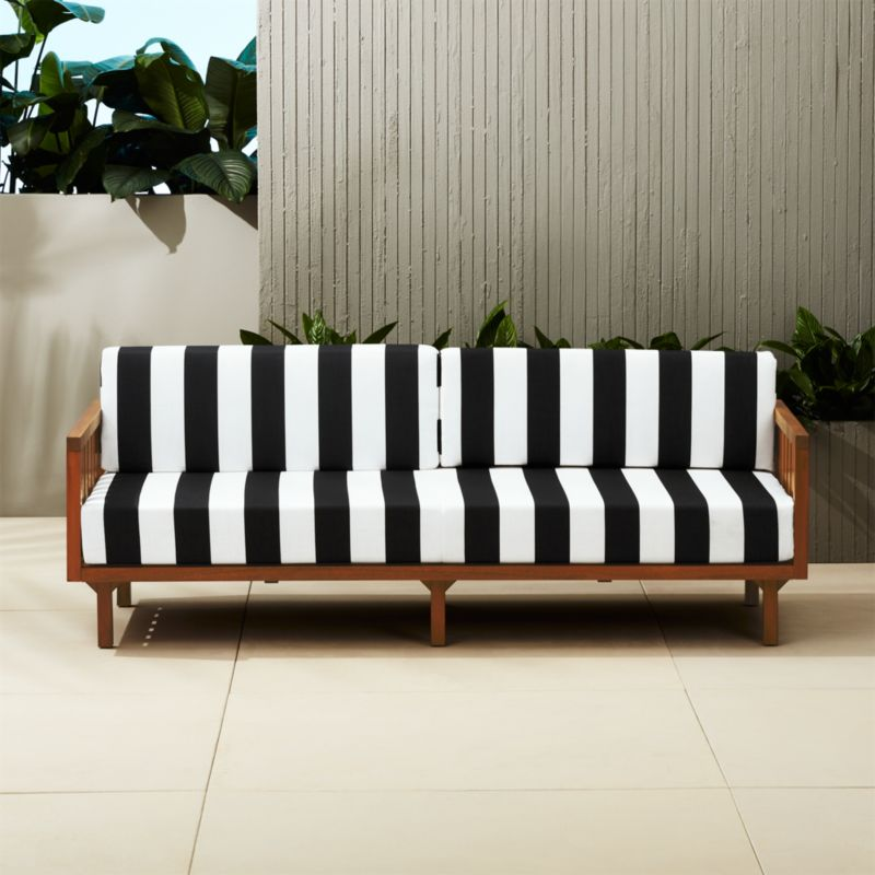 tropez black and white stripe outdoor sofa reviews cb2 rh cb2 com Striped Fabric Sofas Coastal Striped Sofa