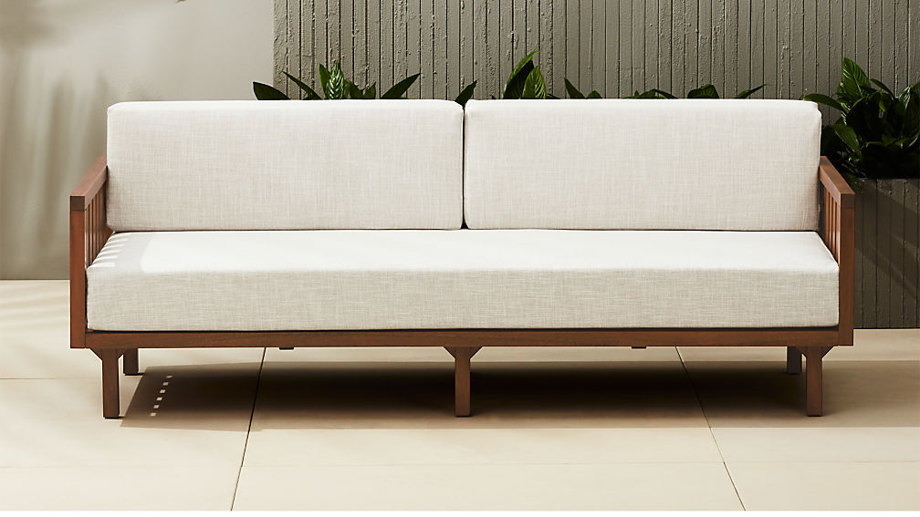 - Tropez Outdoor Wood Sofa + Reviews CB2