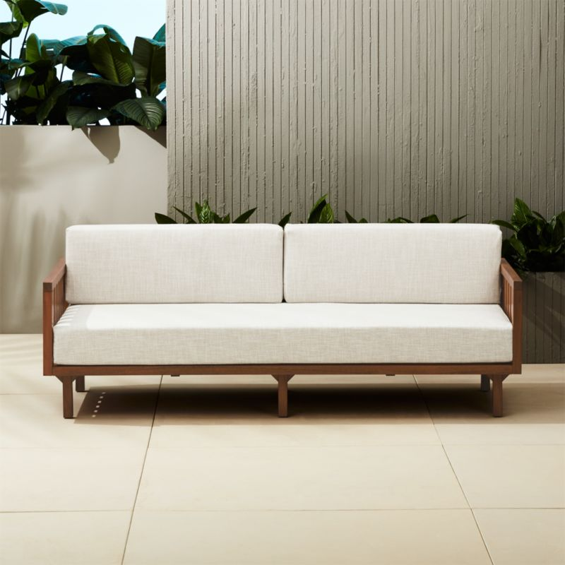 Tropez Outdoor Wood Sofa + Reviews | CB2