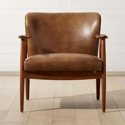 Troubadour Saddle Leather Wood Frame Chair