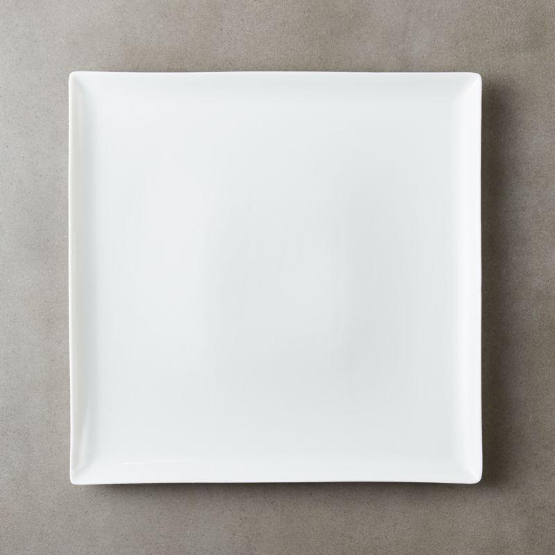 Tuck White Square Dinner Plate & Square Plates | CB2