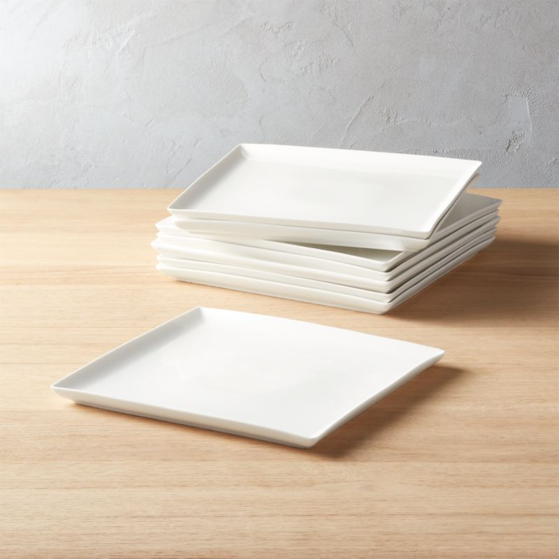 Tuck White Square Dinner Plates Set of 8 & Square Plates | CB2