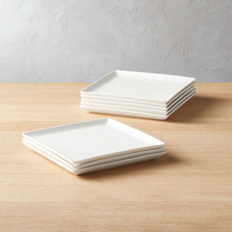 Tuck White Square Salad Plates Set of 8 : white square dinner plate - Pezcame.Com