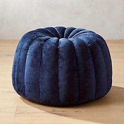 Tufted Navy Blue Velvet Pouf