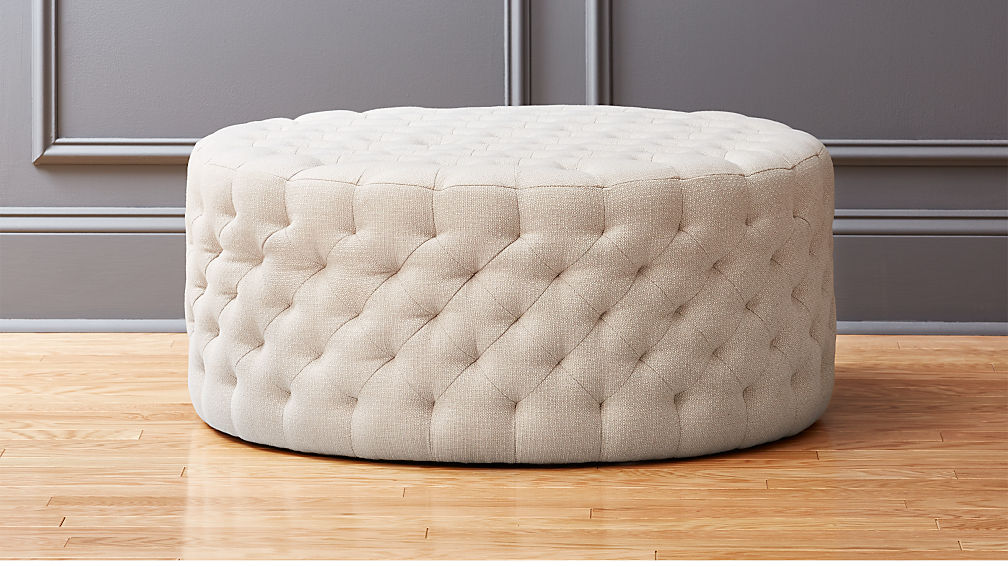 Natural Round Tufted Ottoman + Reviews | CB2