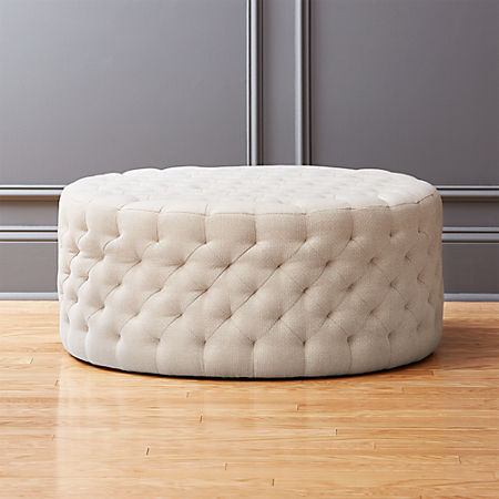 Marvelous Tufted Natural Ottoman Squirreltailoven Fun Painted Chair Ideas Images Squirreltailovenorg