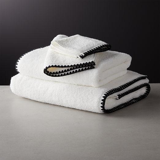 Tuli Black Trim Bath Towels