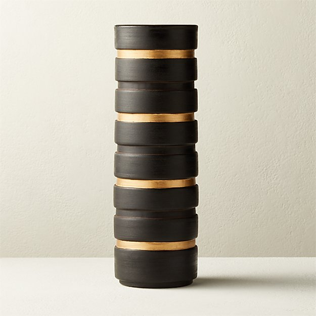 Turq Black and Gold Vase - Image 1 of 4