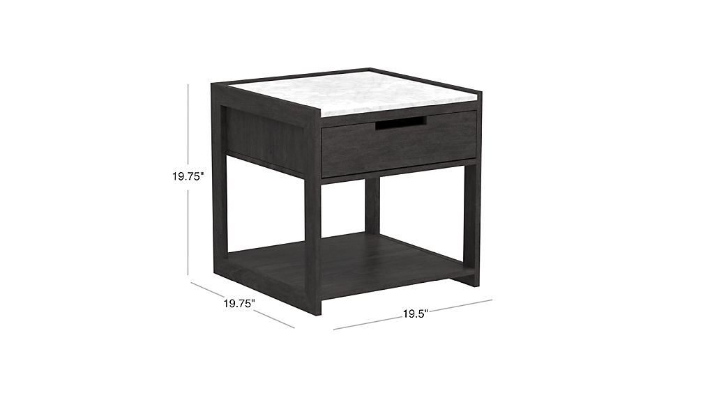 Image with dimension for Tux Marble Top Nightstand
