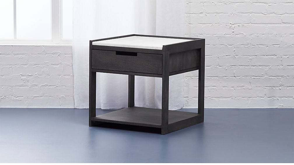 tux marble top nightstand + reviews | cb2 Gray Night Stand