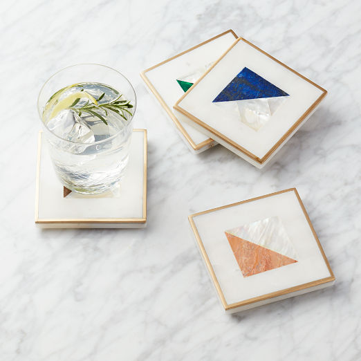 Two Fold Brass and Marble Coasters Set of 4