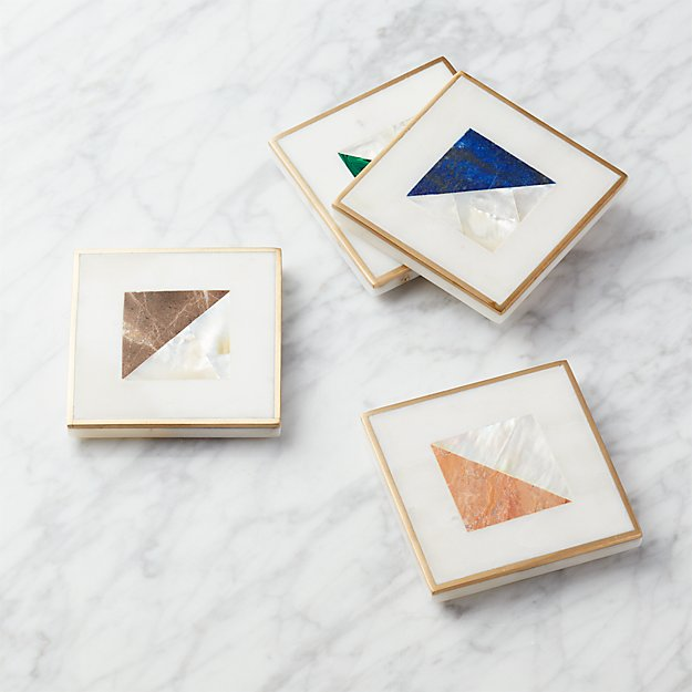 Two Fold Brass and Marble Coasters Set of 4 - Image 1 of 7