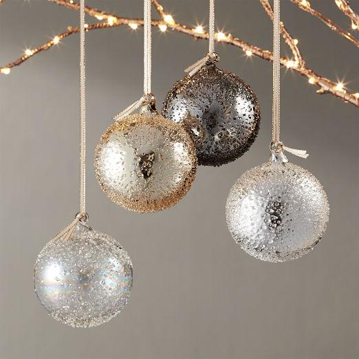Metallic Glass Textured Ornaments Set of 4