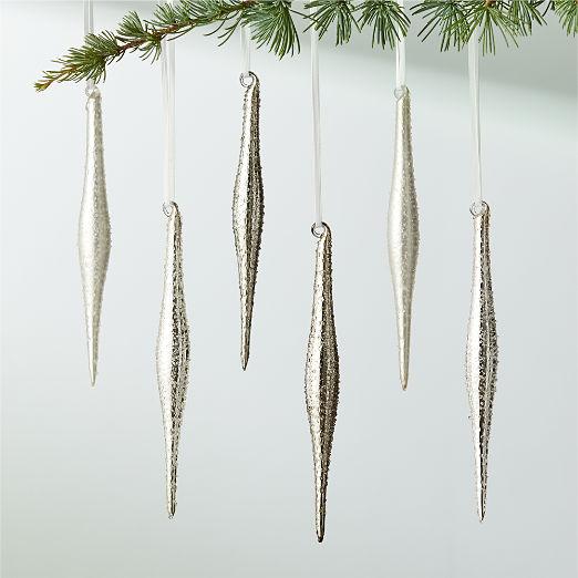 Textured Metallic Icicle Ornaments Set of 6
