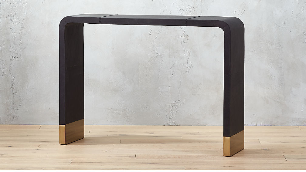 Tyler Leather Console Table With Stitch Detail Reviews CB - Cb2 sofa table