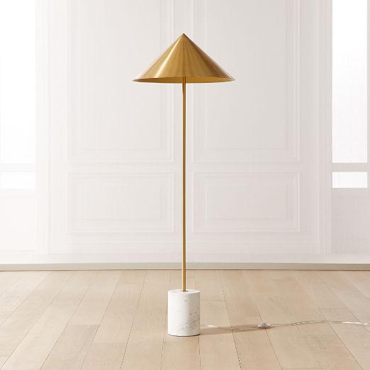 Umbrella Marble Base Brass Cone Floor Lamp