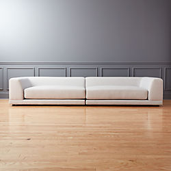 Uno 2 Piece Left Arm Right Arm Sapphire Striped Sectional Sofa