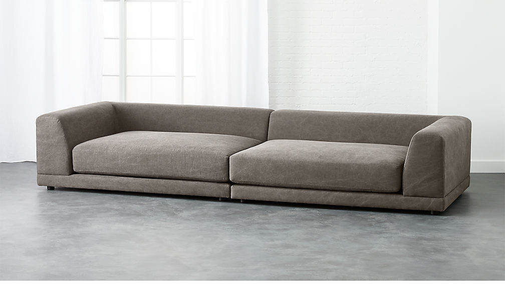 Uno 2 Piece Pewter Sectional Sofa Reviews Cb2