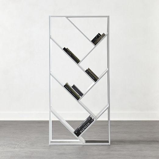 White Hi-Gloss V Bookcase-Room Divider