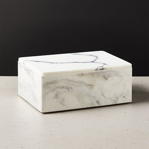 Vaughan Marbleized Ivory Resin Box Large