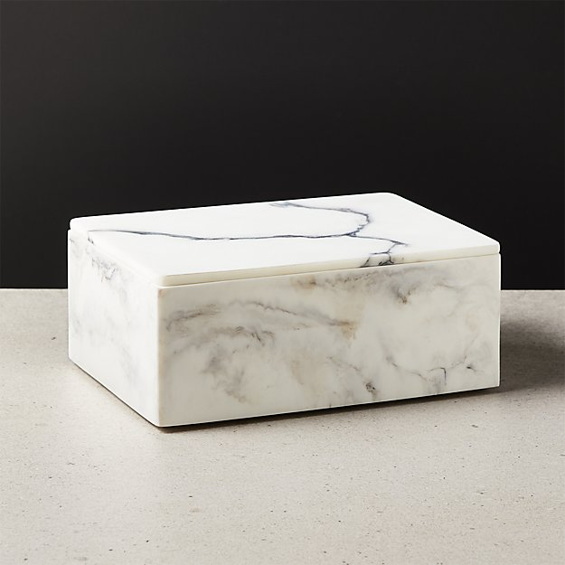 Vaughan Marbleized Ivory Resin Box Large - Image 1 of 4