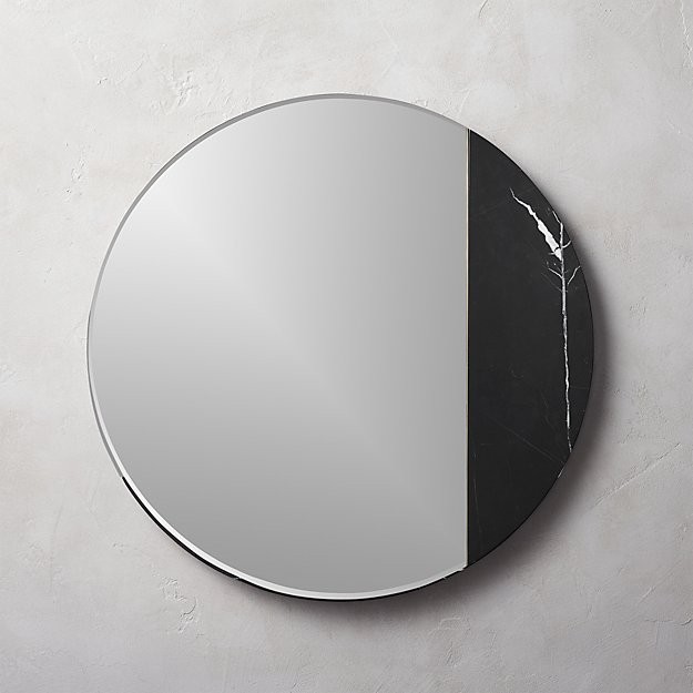 "Vaughn Black Marble Mirror 32"" - Image 1 of 10"