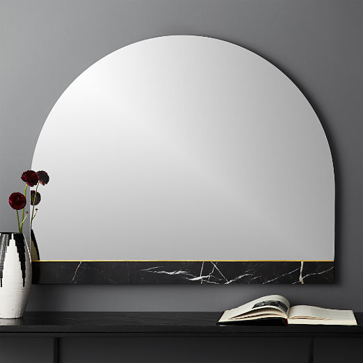 Vaughn Black Mantle Mirror with Marble Brass Inlay