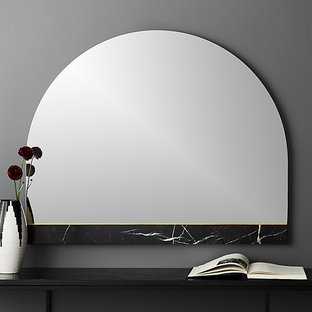 Vaughn Black Mantle Mirror with Marble Brass Inlay - Image 1 of 5