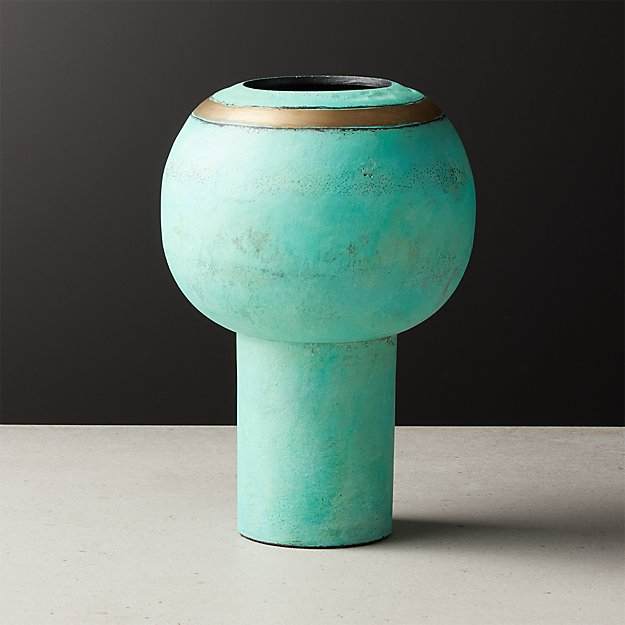 Veda Green and Brass Vase - Image 1 of 5