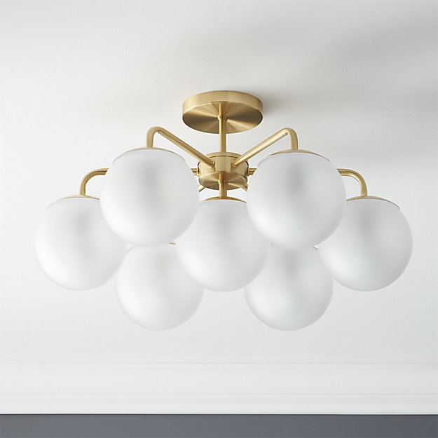 Vega Brushed Brass Flush Mount Light - Image 1 of 11
