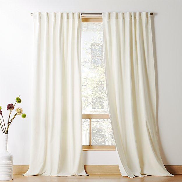 Ivory Velvet Curtain Panel - Image 1 of 8