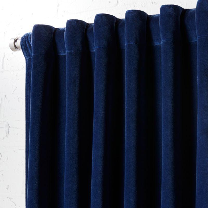 velvet navy curtain panel 48\