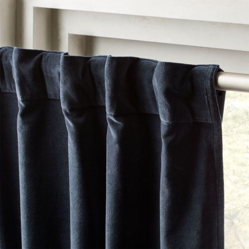 Velvet Curtain Panel Midnight Blue 48 Quot X108 Quot Reviews Cb2